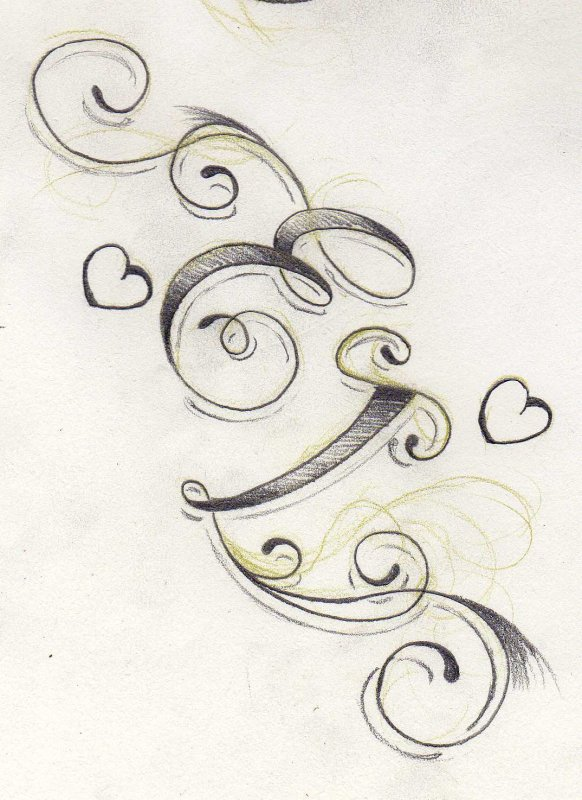 Beautiful Lettre E En Tatouage 6 Imprimer Le Dessin En Couleurs