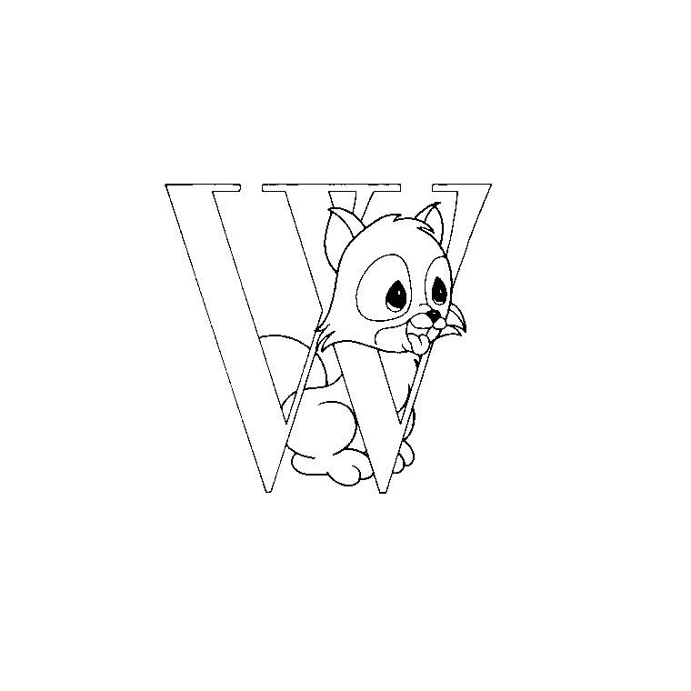 Coloriage à imprimer : Chiffres et formes - Alphabet - Lettre w numéro 52717