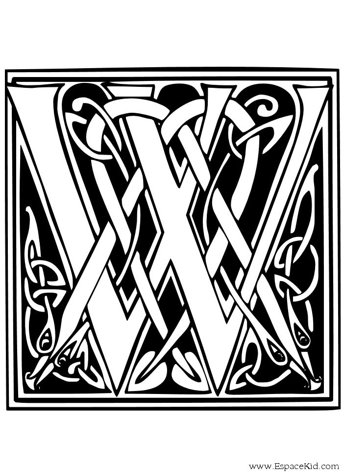 Coloriage à imprimer : Chiffres et formes - Alphabet - Lettre w numéro 58383