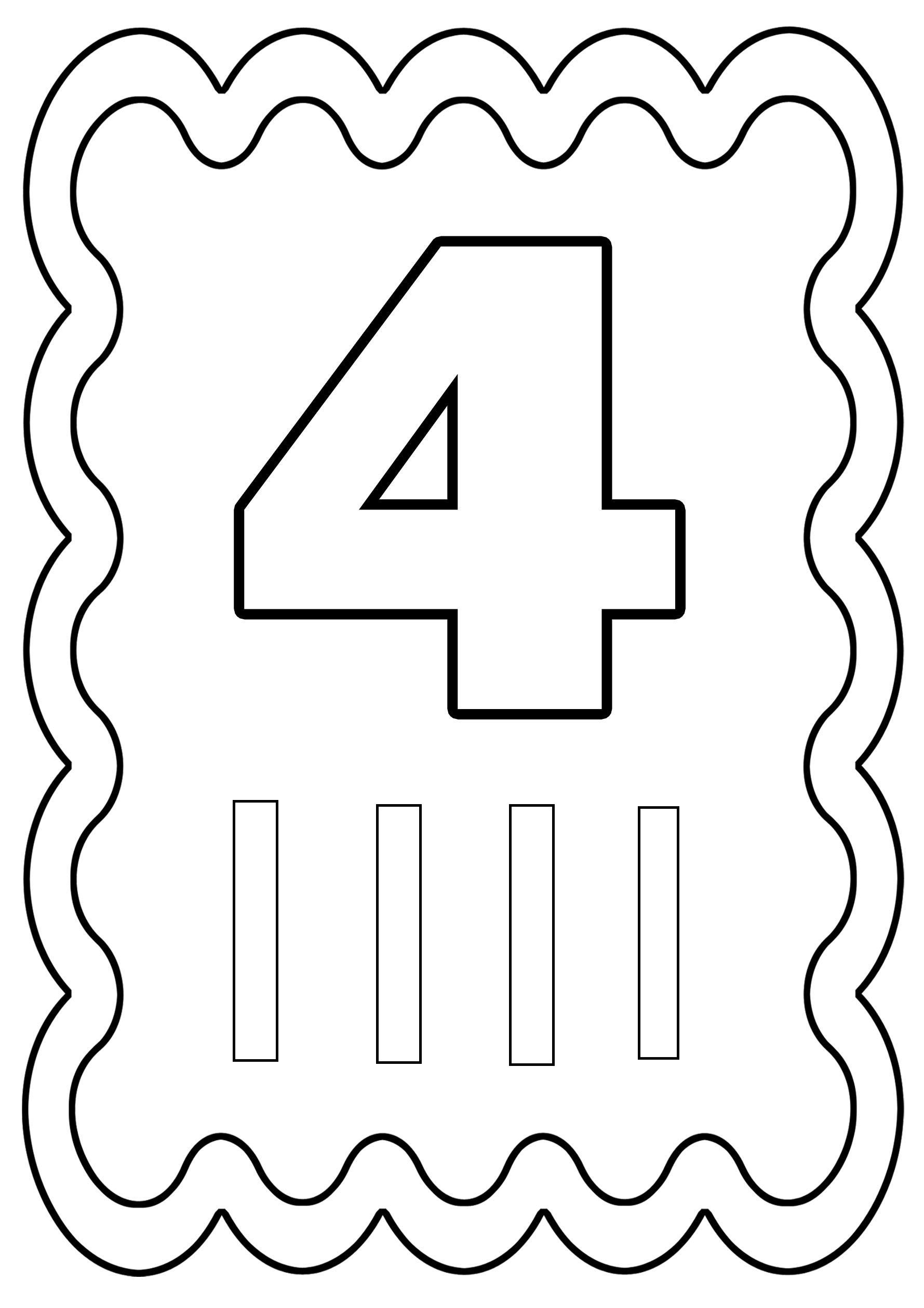 Coloriages à imprimer : Chiffre quatre, numéro : 426563