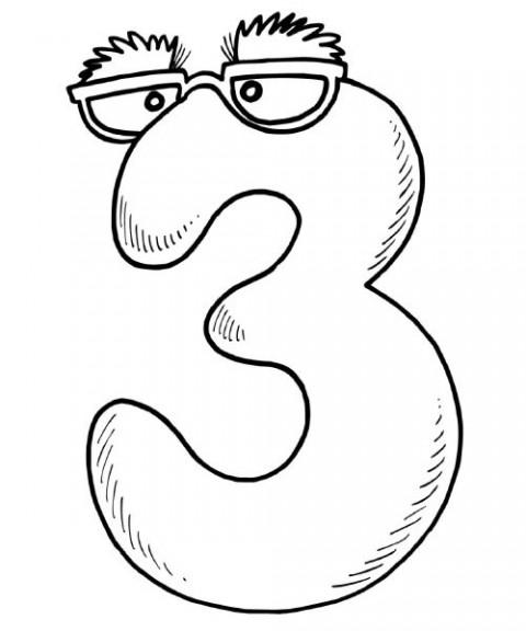 coloriage imprimer chiffres et formes chiffre trois numro 2920