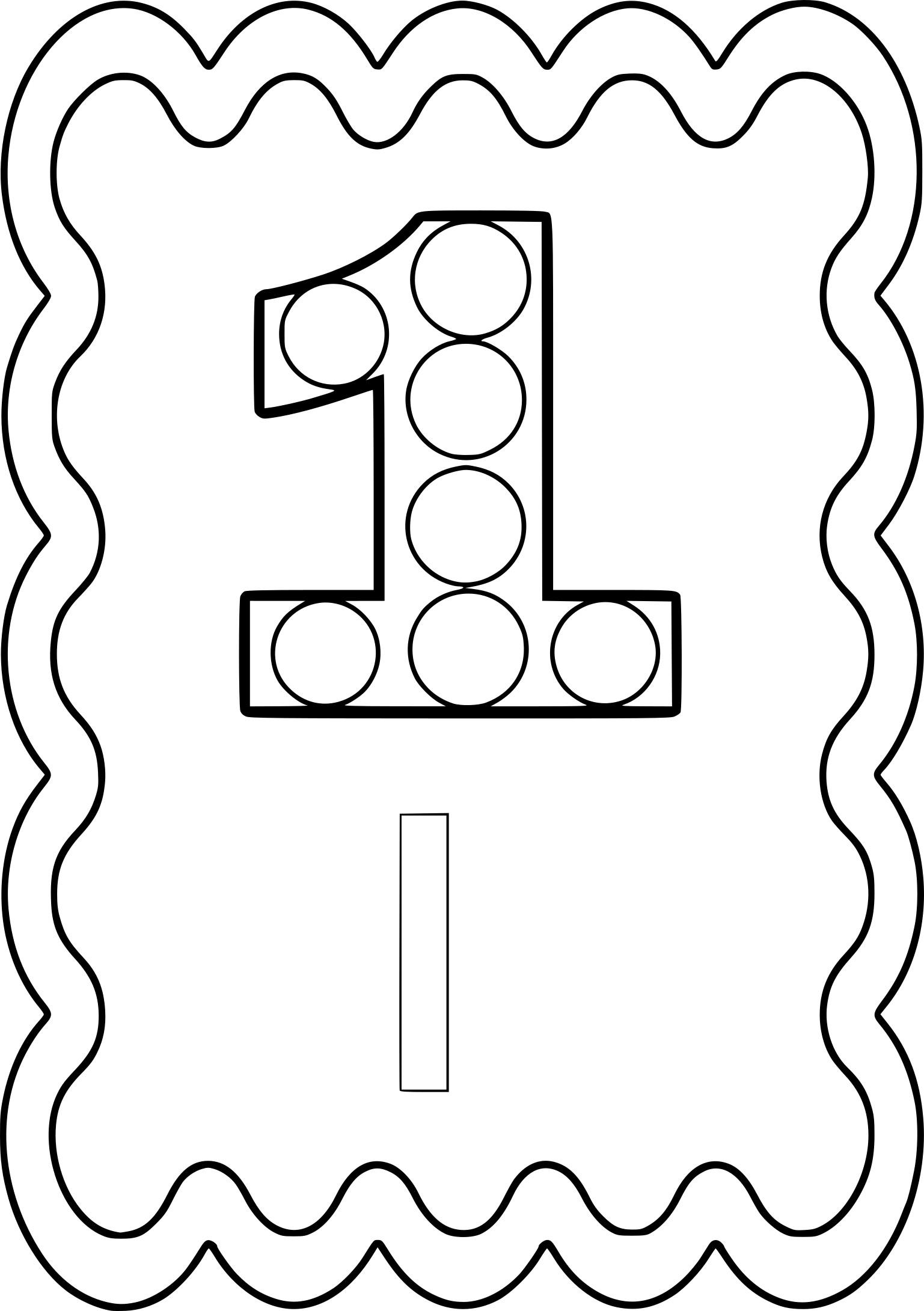 Coloriages à imprimer : Chiffre un, numéro : f083bc4c