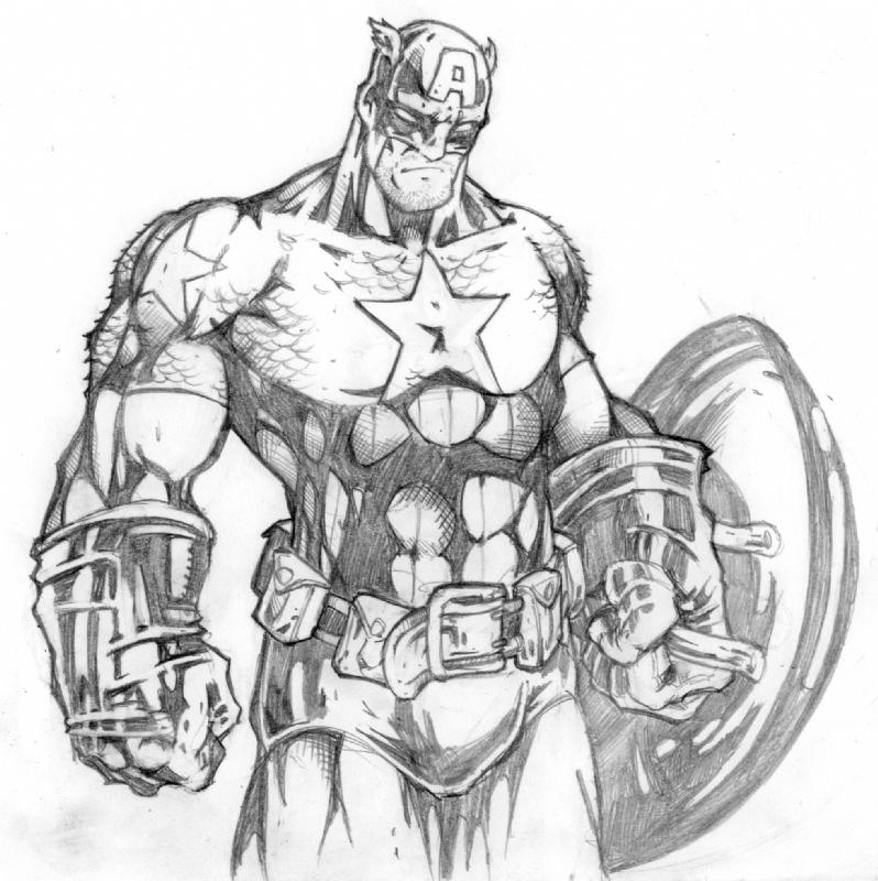 Coloriage imprimer personnages c l bres comics - Dessin captain america ...