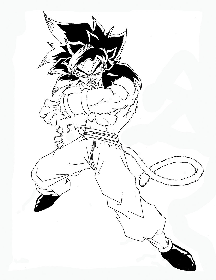 how to draw goku super saiyan 4 full body