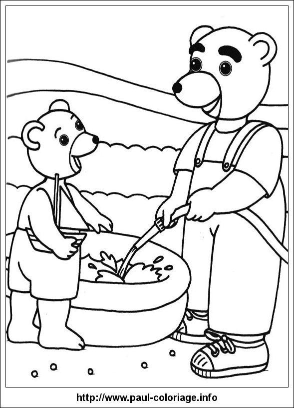 Coloriage imprimer personnages c l bres petit ours for Barbie chien piscine