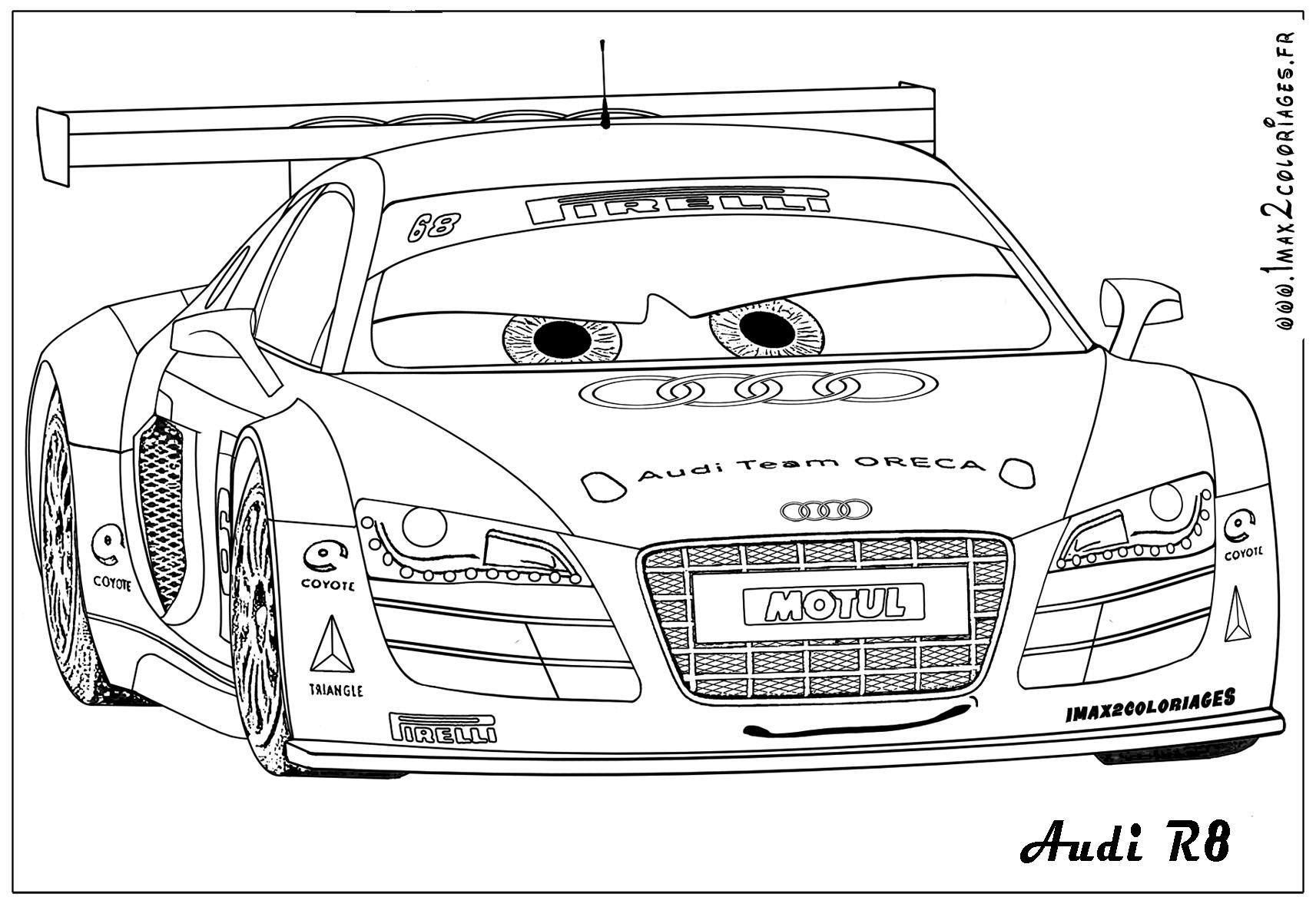 Coloriage  imprimer Véhicules Voiture Audi numéro