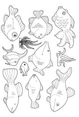 Imprimer le coloriage : Poisson, numéro 414