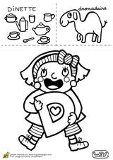 Imprimer le coloriage : Lettre d, numéro 114389