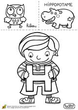 Imprimer le coloriage : Lettre h, numéro 52533
