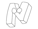 Imprimer le coloriage : Lettre n, numéro 289791