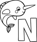 Imprimer le coloriage : Lettre n, numéro 8f3b5670