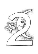 Imprimer le coloriage : Chiffre deux, numéro 62576