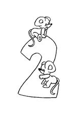 Imprimer le coloriage : Chiffre deux, numéro 62580