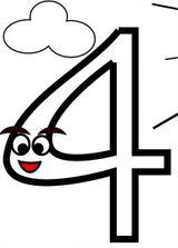 Imprimer le dessin en couleurs : Chiffre quatre, numéro 12693