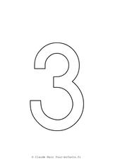 Imprimer le coloriage : Chiffre trois, numéro 2936