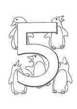 Imprimer le coloriage : Chiffre 5, numéro 394724