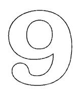 Imprimer le coloriage : Chiffre 9, numéro 394815