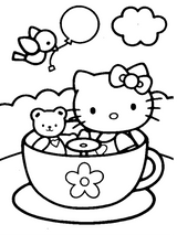 Imprimer le coloriage : Hello Kitty, numéro 967