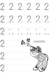 Imprimer le dessin en couleurs : Chiffre deux, numéro 12726