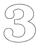 Imprimer le coloriage : Chiffre trois, numéro 163478