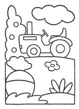 Imprimer le coloriage : Tracteur, numéro 128655